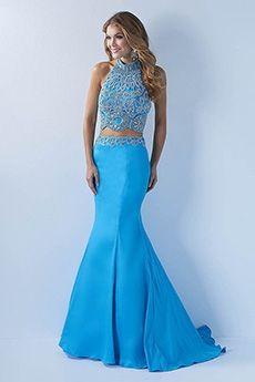 Trumpet/Mermaid Halter Sweep/Brush Train Taffeta Prom Dress