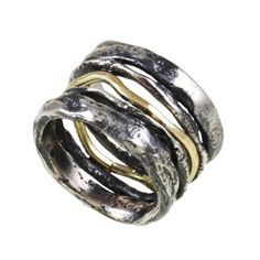"From artist named ""Yasmin"" on the SD Design handcrafted jewelry website - some sort of aggregater. Wavy oxidized sterling silver ring - DR-875"