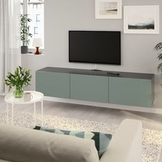 BESTÅ TV bench with doors - white stained oak effect, Selsviken high-gloss/white - IKEA Living Room Tv, Home Living, Modern Living, Panneau Mural Tv, Wall Mounted Tv Unit, Wall Units, Shelving Units, Besta Tv Bank, Soft Closing Hinges