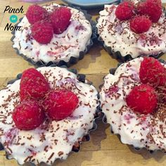 """This White Chocolate and Raspberry Cheesecake is that """"something special"""" type of treat. Perfect for staying on track when you have friends over, summer BBQs or just when you feel you need it! It uses 110g of Philadelphia Lightest which is your HEA. However, this recipes makes 4 individual cheesecakes so not all your allowance …"""