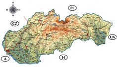 Slovakia detailed road and physical map. Detailed road and physical map of Slovakia. Bratislava, World Thinking Day, Central Europe, Physics, Country, Mesto, Genealogy, Maps, Teacher