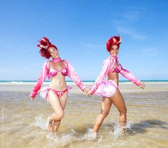 Tropicana dancers walking together near beach. Cuba by Hugh Sitton - Stocksy United Walk Together, Dancers, Bikinis, Swimwear, Walking, The Unit, Havana Cuba, Stock Photos, Beach