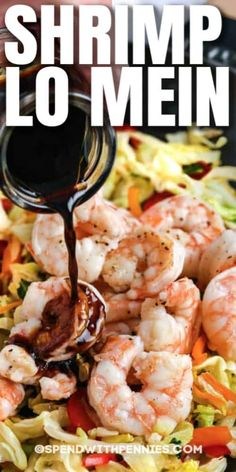 Shrimp Lo Mein is a family favorite! It's quick and easy to make, and everyone will love the sweet and savory Asian sauce! #spendwithpennies #shrimplomein #recipe #maindish #homemade #easy Fish Recipes, Seafood Recipes, Asian Recipes, New Recipes, Cooking Recipes, Favorite Recipes, Healthy Recipes, Asian Foods, Chinese Recipes