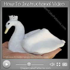 How to Make a Washcloth Swan Video Tutorial | Diaper Cake Patterns