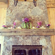 Candles and flowers on the fireplace for a rustic Colorado wedding. Winter Day, Cozy Winter, Diy Wedding, Wedding Stuff, Wedding Ideas, Rustic Fireplaces, Cottage In The Woods, Special Day, Decor Styles