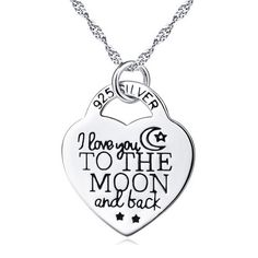 YFN Genuine 925 Sterling Silver Heart Lock Pendant Necklace I Love You to The Moon and Back Women Jewelry Engraved Necklace Sterling Silver Choker Necklace, Engraved Necklace, Sterling Silver Pendants, 925 Silver, Silver Jewelry, Silver Ring, Silver Earrings, Silver Bracelets, Gold Jewellery