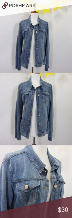 """Bandolio Stretch Button Down Jean Jacket Blue *LL9 Excellent gently worn condition, no stains, rips, or pilling.Great for when you want the look of a denim jacket without the bulk or tightness of denim. [Size M Bust 36"""" Length 21.5"""" Sleeve length 24""""] Blue.   // No holds, trades, or modeling. Colors may vary on screen. Please use measurements. Offers welcome.   *Last characters in title is inventory number. Bandolino Jackets & Coats Jean Jackets"""