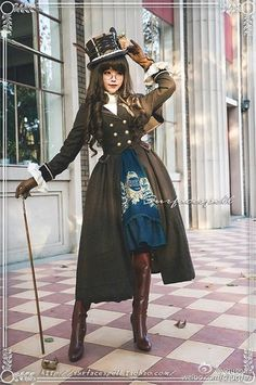 Surface Spell -Glorious Knight- One Shoulder Cape Military Lolita Winter Coat Harajuku Fashion, Kawaii Fashion, Lolita Fashion, Cute Fashion, Fashion Outfits, Women's Fashion, Moda Steampunk, Costume Steampunk, Steampunk Fashion