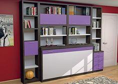Juvenil con abatible horizontal de 90 x 190 con librería superior.