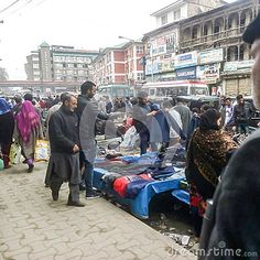 Busy market in srinagar Kashmir India