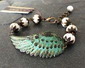 Verdigris Patina Wing with White Turquoise Howlite Bracelet