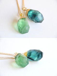 Blue green Fluorite necklace Raw Crystal by VermeerJewellery