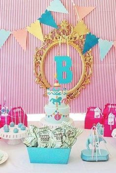 Vintage carousel Birthday Party!  See more party planning ideas at CatchMyParty.com!