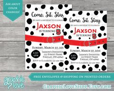 Dalmatian Dog Personalized Birthday Invitation - Any Age - 4x6 or 5x7 - Digital File or Printed - FREE US Shipping by GraphicLoveShop on Etsy