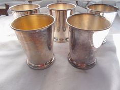 5 Sheridan Silverplated Drink Punch Cups Glasses Mint Julep Silver Plate #Sheridan
