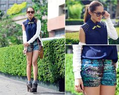 Robinsons Top, Robinsons Cardigan, Dolce & Gabbana Sunnies, Gera Necklace, Kira Nichole Ny Shorts, Balenciaga Bag, Alaia Heels Shoes
