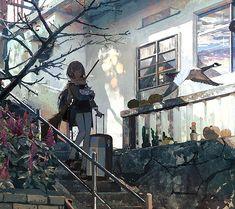 魔女を連れて鴻雁来 Fantasy World, Fantasy Art, Environment Concept Art, Fantasy Landscape, Anime Scenery, Environmental Art, Anime Art Girl, Cool Artwork, Aesthetic Anime