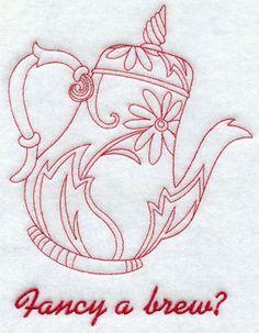 A redwork gosta de uma cerveja? desenho de bordado máquina bule.