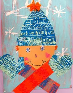 Cassie Stephens: In the Art Room: Printed and Collaged Winter Self Portraits by Second Grade