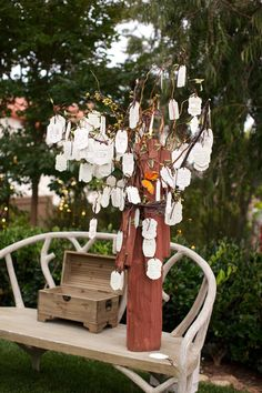leave your name and well wishes on a tree for bride and groom #weddingideas #guestbook #weddingchicks http://www.weddingchicks.com/2014/02/04/country-fair-wedding/