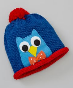 Royal Blue & Red Owl Knit Beanie