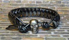 Men's Skull & Hematite Leather Wrap Bracelet by DesignsByJen1,