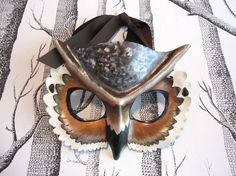 leather horned owl child's mask via sundries and plunder Owl Mask, Marionette, Great Horned Owl, Lake Tahoe Weddings, Leather Mask, Animal Masks, Maquillage Halloween, Masquerade Ball, Masquerade Wedding