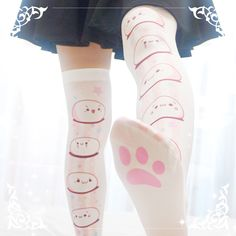 Cute Womens Clothing Stockings on Girly Girl の To Alice.Lolita Cute Cartoon Faces Stockings Girly Emoji Hose Gg678 is a must to make an amazing outfit. You can wear it in any occasion - school, office, dates, and parties.