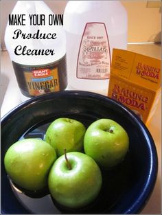 DIY Produce Cleaner ~Read the Tutorial ~   ½ cup white vinegar  1 tablespoon baking soda  1 tablespoon lemon juice  1 cup filtered or distilled water