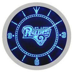 St. Louis Rams American Football Neon Sign Bar Wall Clock