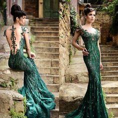 2015 Rami Salamoun Dresses Green Prom Dresses Mermaid Scoop Cap ...
