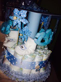 Blue carouzel diaper cake