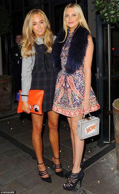 BFFs: Nicola posed with co-star Stephanie Pratt, looking stylish in a printed mini-dress