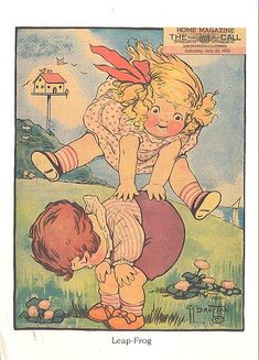 """Leap Frog"" Illustrated by Grace G. Drayton From Dolly Dingle Playtime Postcards Copyright 1986 by Dover Publications, Inc.faeriesarereal-2 