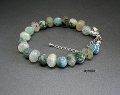 Green beaded gemstone bracelet, Quartz aventurine and agate bracelet, £18.00
