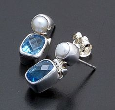 acleoni - Freshwater Pearl & Faceted Blue Topaz Sterling Silver Earrings #18284 $110.00