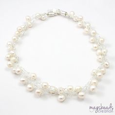 Pearls Crochet Necklace, White Pearls Necklace, Bridal, Wire Crochet Jewelry, Winter Frost, White Color, Bride Necklace, Wedding Jewellery