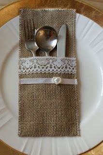 Burlap silverware pockets - place cards set of 6 Burlap Silverware Holder, Kitchen Hand Towels, Burlap Crafts, Hessian, Rustic Wedding, Ideas Navideñas, Etsy Shop, Place Mats, Holiday Decorating