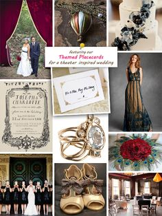 Theatre Wedding inspiration board - I love the dress and the theatre curtains outside :)