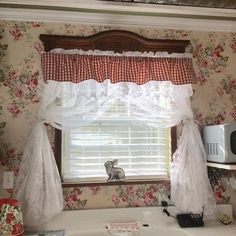We have worked on my studio in sections, so the curtains didn't go up all at once. Today we did over the sink and the small window by the… Kitchen Window Decor, Go Up, Small Windows, Rose Cottage, Girls In Love, Working On Myself, Valance Curtains, Sink, Studio