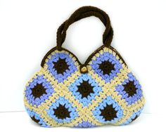 Seriously, $70, that's crazy! Wool Crochet Granny Square Handbag by MyLavenderDreams on Etsy, $70.00