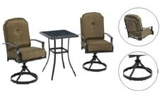 Patio Furniture Bistro Set Garden Swivel Chairs Brown Cushions & Table Outdoor  #Mainstays