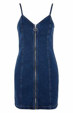Main Image - Topshop Zip Through Denim Body-Con Dress