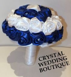 ROYAL BLUE AND WHITE SATIN ROLLED ROSE BOUQUET INTERSPERSED WITH SWAROVSKI CRYSTALS