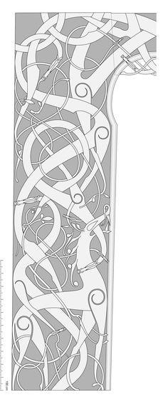 Left Side of the Urnes Stave Church Portal Celtic Symbols, Celtic Art, Anglo Saxon Clothing, Viking Art, Viking Woman, Viking Knotwork, Asian History, British History, Rabe Tattoo