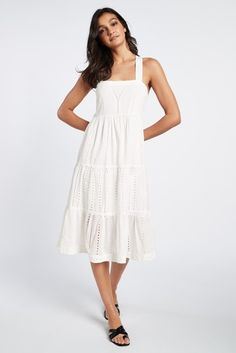 Shop for White Broderie Midi Dress at Next Canada. International shipping and returns available. Buy now! High Leg Bikini, Bikini Tops, Toe Loop Sandals, Tiered Skirts, White Swimsuit, Signature Collection, Knee Length Dresses, Your Style, White Dress