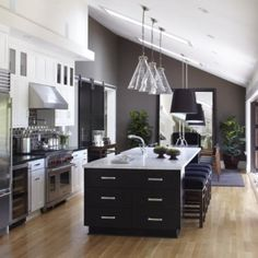 Mixing materials on your countertops: If you're a serious cook or entertainer, mixing materials works to your advantage. Most commercial kitchens have mixed materials throughout—marble for pastry work, a lot of stainless for wet work, butcher block for chopping.