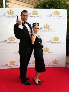 Bond lookalike with Audrey Hepburn lookalike for Hollywood theme party or event. Book via www.actionheroevents.com. (C) Collette Bishop.
