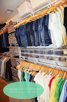 "Possibly a shelf on top of racks? Room for storage? Home Organization 101 - Week 13 ""The Master Closet"" (Season Organisation Hacks, Closet Organization, Organizing Tips, Organization Station, Master Closet, Closet Bedroom, Deep Closet, Closet Redo, Huge Closet"