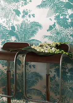 Floral wallpaper / paper / traditional SHADOW by Florence Broadhurst BORDERLINE